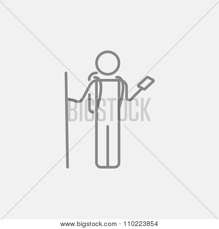 Tourist backpacker with phone line icon for web, mobile and infographics. Vector dark grey icon isolated on light grey background.