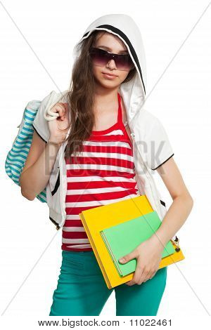Stylish Teenage Girl With Books