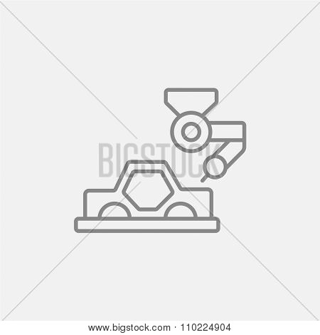 Automated assembly line for cars line icon for web, mobile and infographics. Vector dark grey icon isolated on light grey background.