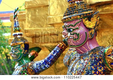 Giant Statues (Thai Golden Demon Warrior) in Temple