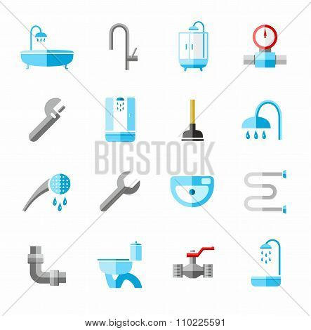 Plumbing, Icons, Colored, Fla...
