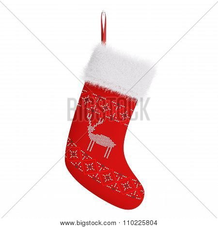 Red Christmas Stocking Isolated 3D Rendering