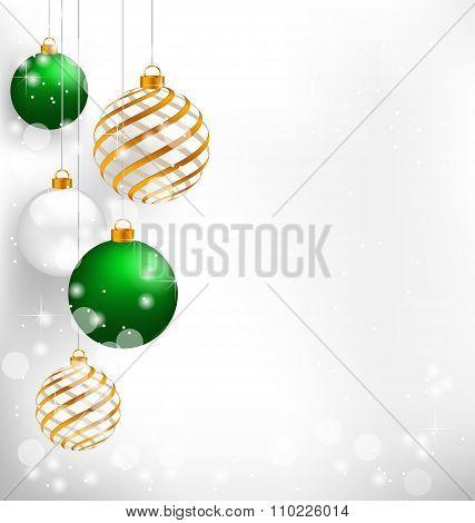Green spiral christmas balls hang on white