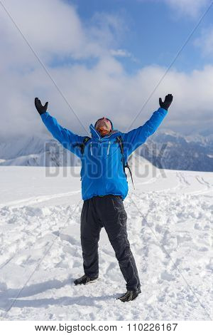 Happy Hiker Enjoy Life And Beautiful Landscape In Winter Mountains.