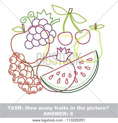 Fruit mishmash colorful set in vector.