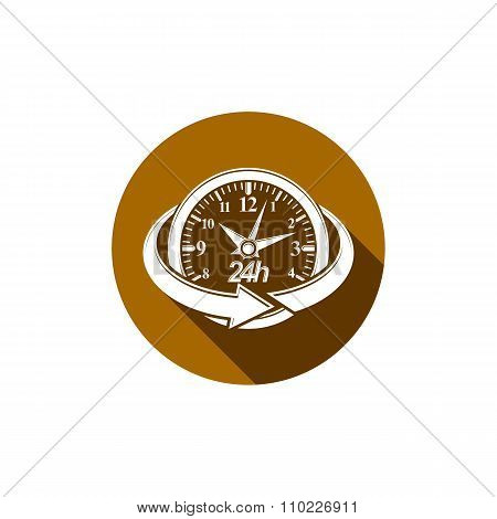 Graphic Web Vector 24 Hours Timer, Around-the-clock Pictogram. Business Time Management