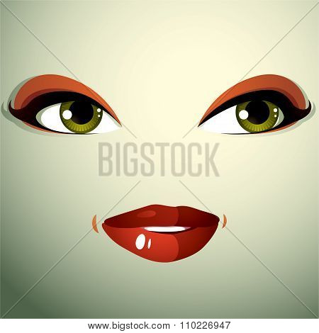 Face Makeup, Lips And Eyes Of An Attractive Woman Displaying Happiness.