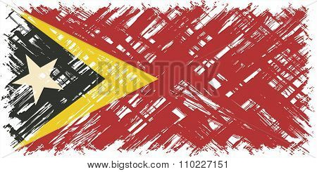 Timor-Leste grunge flag. Vector illustration.