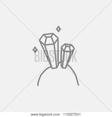 Gemstones line icon for web, mobile and infographics. Vector dark grey icon isolated on light grey background.
