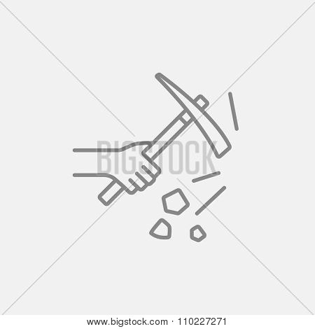 Hand using pickax line icon for web, mobile and infographics. Vector dark grey icon isolated on light grey background.