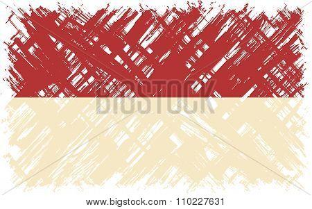 Indonesian grunge flag. Vector illustration.