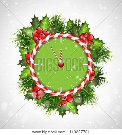 clock with holly and pine on grayscale