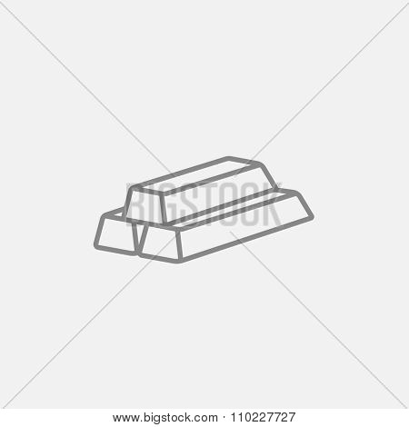 Golden bars line icon for web, mobile and infographics. Vector dark grey icon isolated on light grey background.