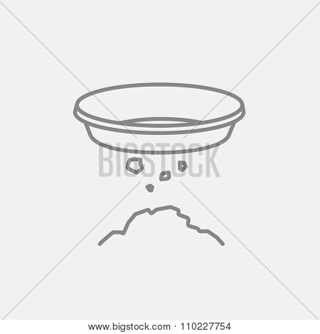 Bowl for sifting gold line icon for web, mobile and infographics. Vector dark grey icon isolated on light grey background.