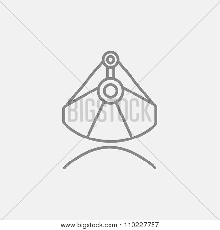Mining industrial scoop line icon for web, mobile and infographics. Vector dark grey icon isolated on light grey background.