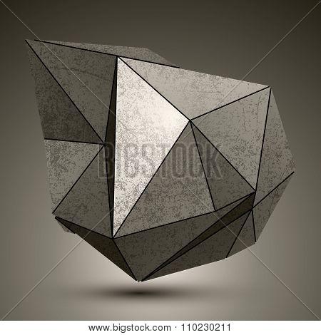 Deformed Dimensional Facet Bronze Object, 3D Complex Design Element.