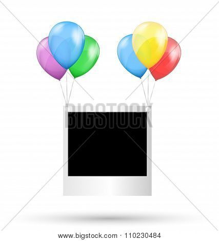 Festive photo frame hang on multicolored inflatable air balls is