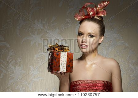 Woman With Sexy Christmas Style