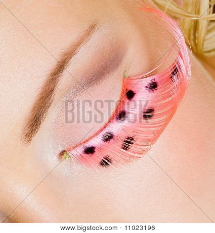 Pink Eye Make-up With False Eyelashes