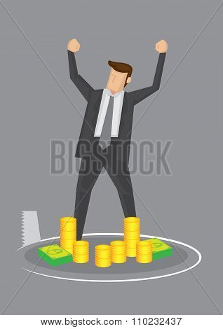 Businessman And Money Trap Conceptual Vector Illustration