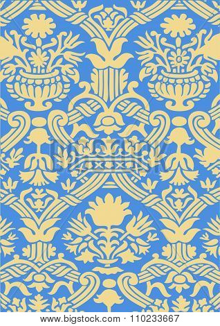 Blue and gold Seamless abstract hand-drawn floral pattern vintage background
