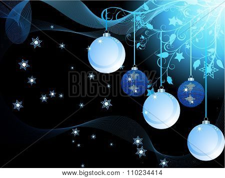 Blue Christmas Baubles And Waves