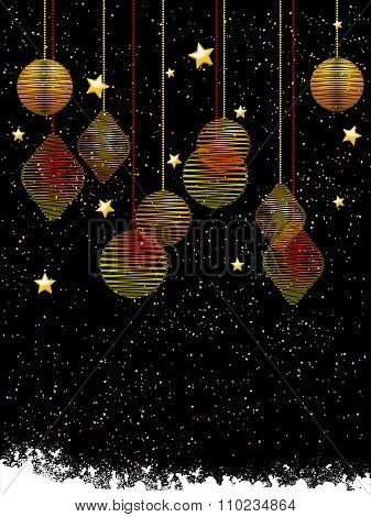 Christmas Baubles And Stars Portrait Background