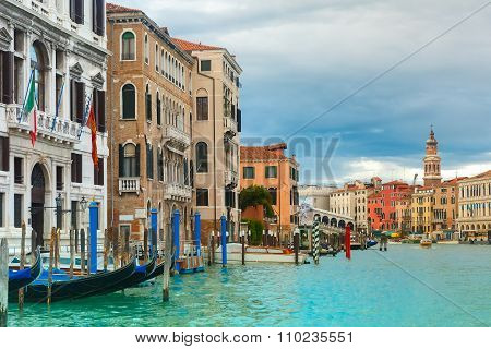 Grand Canal in cloudy day, Venice, Italy.
