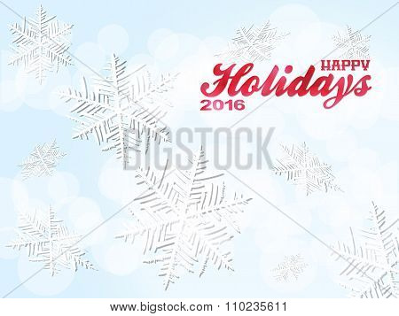 Happy Holiday 2016 Snowflakes Background