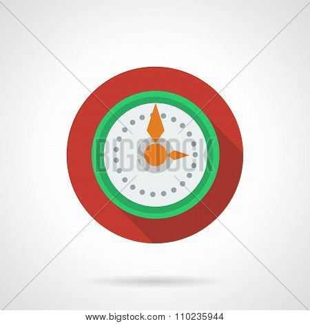 New Year clock round color vector icon