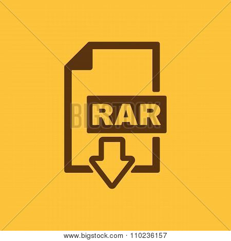 The RAR file icon. Archive and compressed symbol