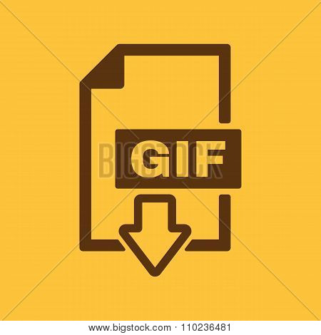The GIF icon. File format symbol. Flat