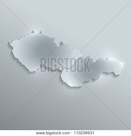 Czech Slovakia map glass card paper 3D raster Czechoslovakia separate maps
