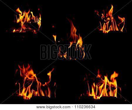 Bonfire Set Over Black Background