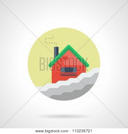 Winter house round flat color vector icon