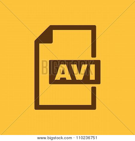 The AVI icon. Video file format symbol. Flat