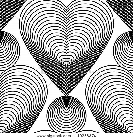 Ornate Vector Monochrome Abstract Background With Black Lines And Romantic Hearts. Symmetric Decorat
