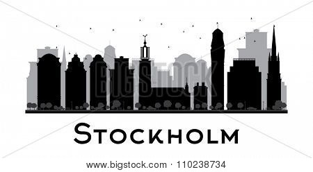 Stockholm skyline black and white silhouette. Concept for tourism presentation, banner, placard or web site. Business travel concept. Cityscape with famous landmarks