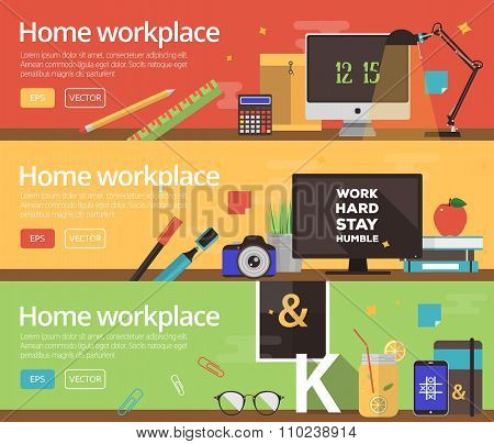 Vector concepts of home workplace design. Horizontal banners with business items in flat style.