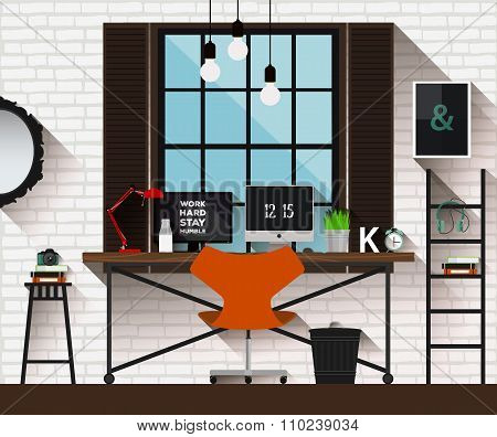 Vector flat illustration workplace in loft interior. Desk concept. Modern design of creative office