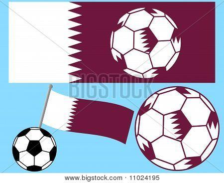 Soccer Football with Flag of Qatar