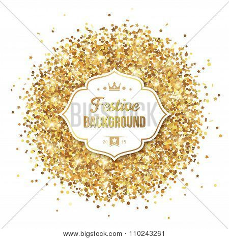 Gold Glitter Sequins with Frame Isolated