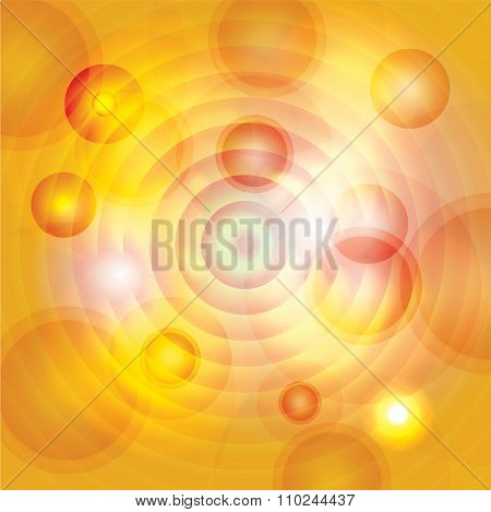 Abstract Yellow, Gold And Orange Circles Background