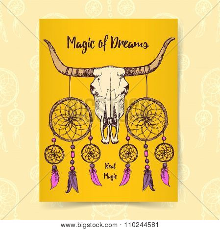 Sketch Longhorn And Dream Catcher