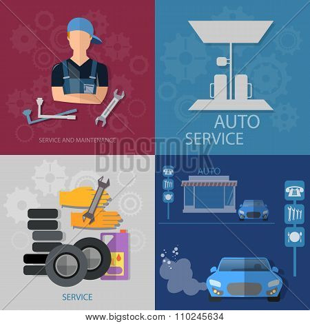 Auto Service Concept Auto Mechanic Car Repair Oil Change Car Diagnostics Tire Set