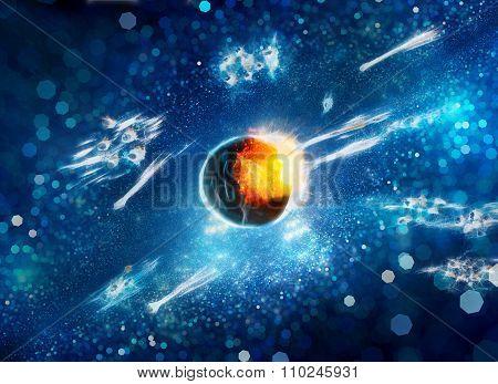 Asteroid Impact Fractal Artwork