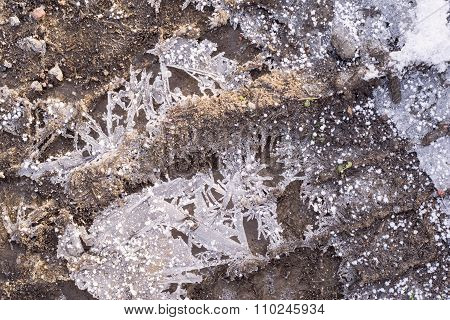 Winter Frozen Earth Soil With Ice