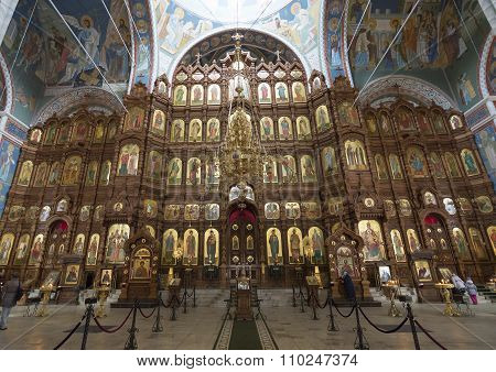 Nizhny Novgorod, Russia - 03.11.2015. iconostasis at  Cathedral of St. Alexander Nevsky .19th centur