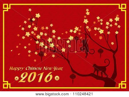 Happy new year 2016 card is  lanterns , monkey and tree