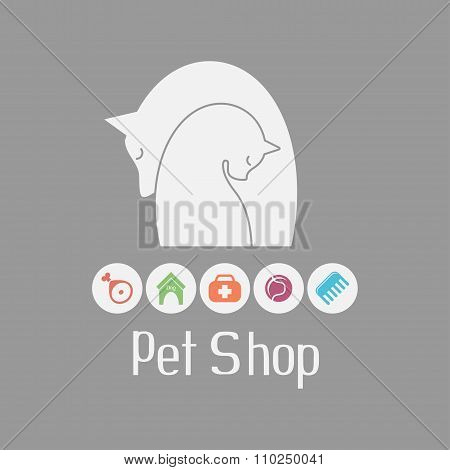 Cat and dog tender embrace, pet shop logo, what they needs